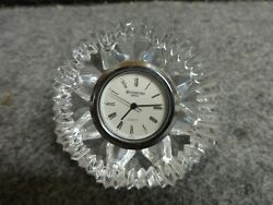 WATERFORD CRYSTAL LISMORE DIAMOND CUT PAPERWEIGHT CLOCK