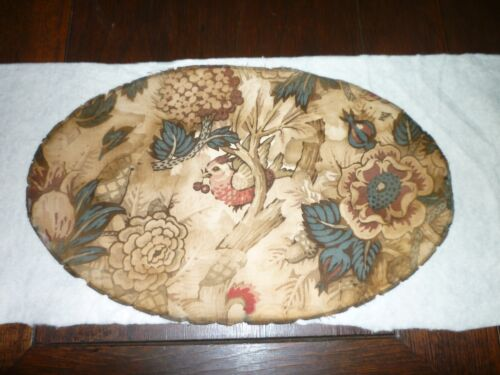 VERY RARE ANTIQUE FABRIC PIECE **OVAL** BIRD EARLY 1800