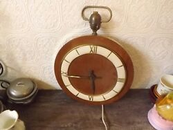 Rare Vintage Pocket Watch Style Large Wall Clock Wood Brass