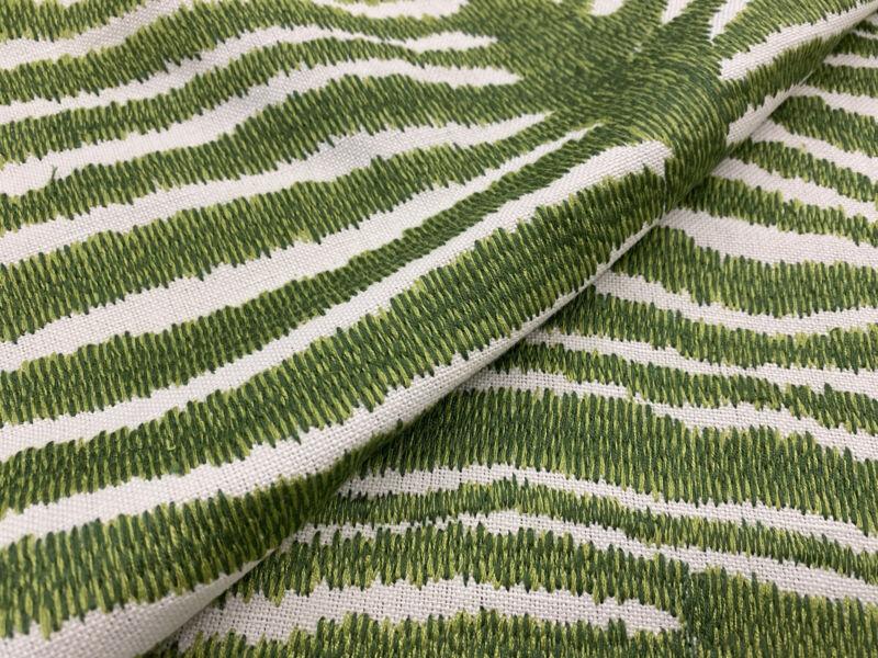 Brunschwig & Fils Animal Skin Fabric- Le Zebre Embroidery / Leaf 1 yd 8015172.3