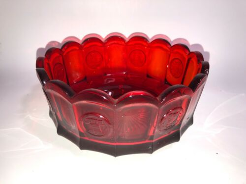 Vintage FOSTORIA Red Coin Glass BOWL Scalloped Oval Serving Dish Liberty Bell