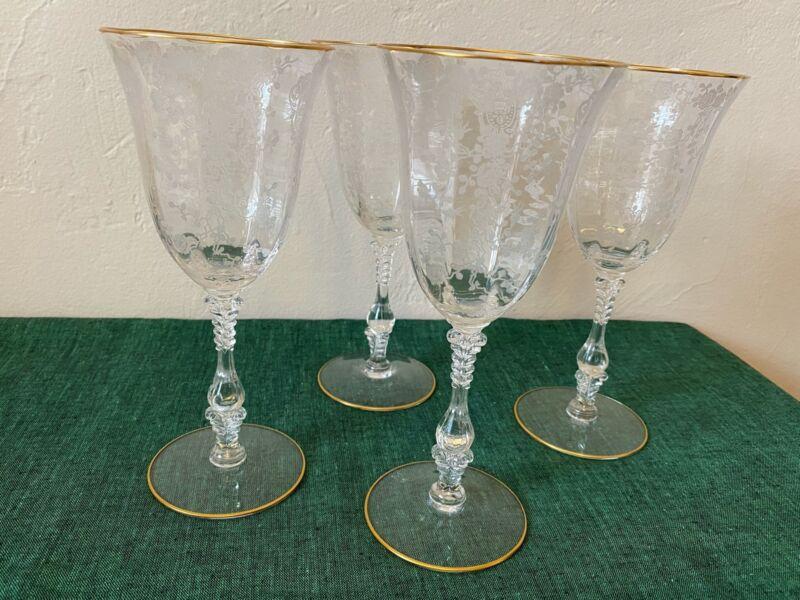 Cambridge Crystal ROSEPOINT GOLD Set of 4 Goblets Crisp Free Shipping