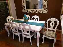White wood dining table with chairs Sans Souci Rockdale Area Preview