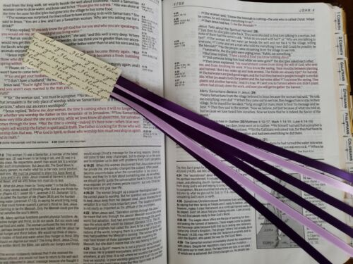AGAPE 6 ribbons multi page bookmark Bible study hymnal handmade gift purples