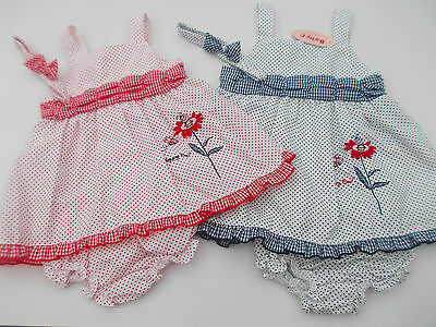 BNWT baby girls navy or red summer dress & knickers set. 6 t