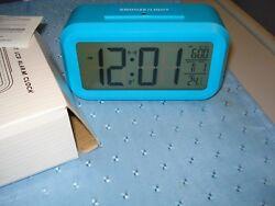 Smart Light LCD Alarm Clock, Time, Date Temp. Shell, Table Green Frame 5.4x3