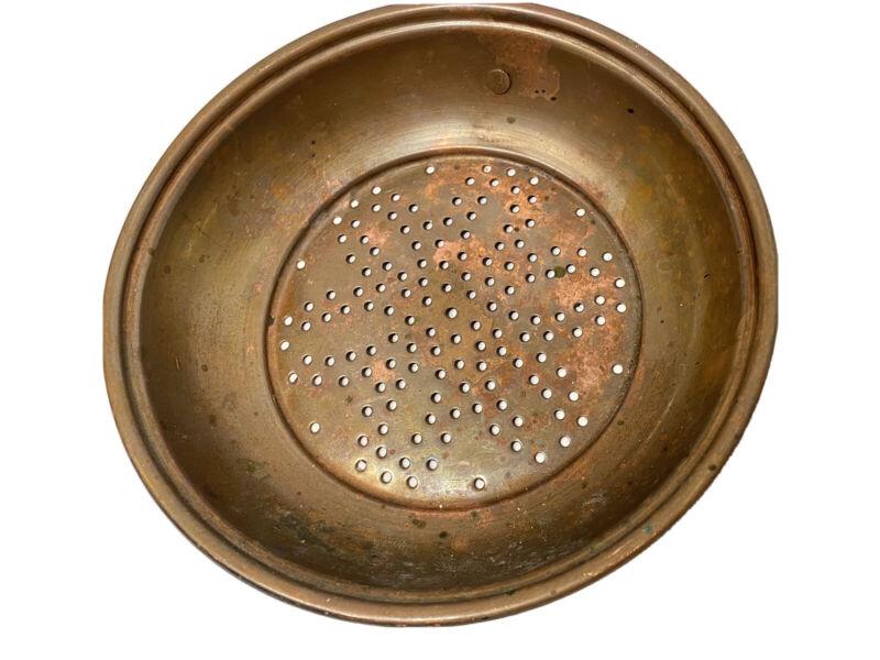 """Antique Vtg Solid Copper Industrial Sieve Kitchen Strainer Primitive Colander 6"""""""