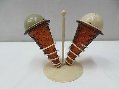 VTG ICE CREAM CONE SALT/PEPPER SHAKERS/STAND HOLDER AMBER GLASS HONG KONG