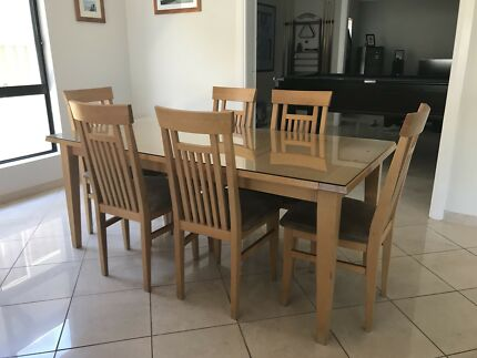 Solid timber dining table + chairs + 2 cabinets