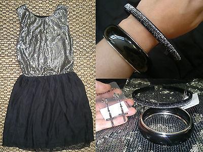 eid schwarz Pailletten Glitzer Ring Armreifen Haarreifen NEU (Komplette Outfits Kleid)