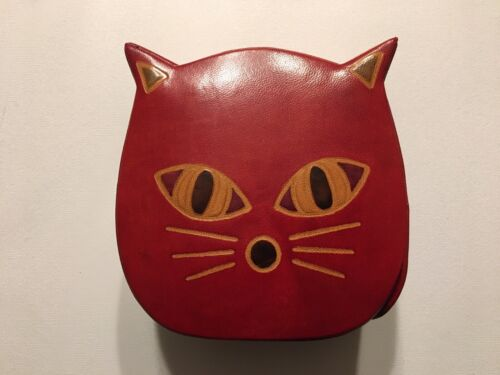 Cute Leather Cat Kitten Piggy Coin Bank Red