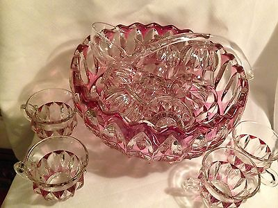 Indiana Glass 1005 Ruby Flash Stained Punch Bowl 12 Cups and Glass Ladle