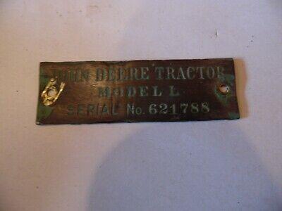 1938 John Deere Unstyled L Tractor Serial Tag Nice