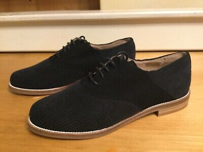 NWOB Anthropologie Corduroy Oxford Brouge Lace up Shoe In Black Sz 38 7.5