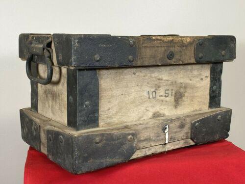 Antique Box w/ Iron Hardware Corners & No Pinch Handles ~ Heavy Shipping, Ammo?