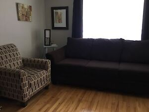 Couch and accent chair. (Brown)