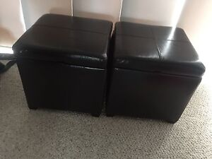 2 Dark Brown faux leather storage ottomans