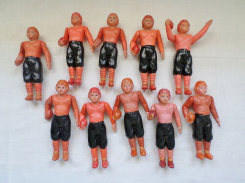"Antique Celluloid Toy 4"" Football Players lot of 10  Made in Japan"