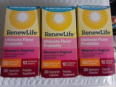 Renew Life Ultimate Flora 50 billion Vaginal Support Probiotic 30x3=90 Caps Flora 50 Billion 30 Caps