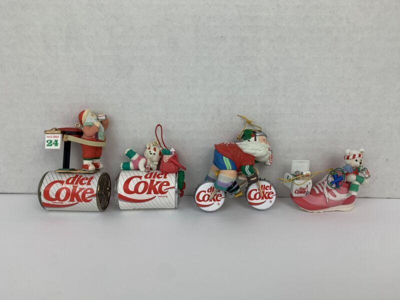 Enesco LOT of 4 Diet Coke Exercising Coca-Cola Christmas Ornaments 1990s