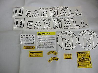 Ihc Farmall International Super M Farmall Tractor Decal Set - New Free Shipping