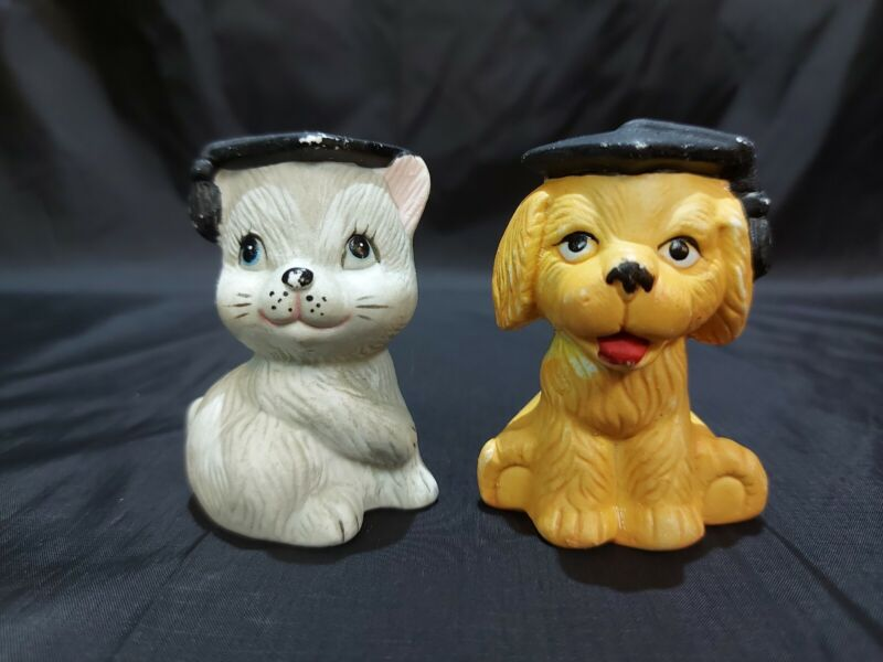Vintage Collection Salt and Pepper Shakers Graduation Dog And Cat