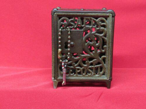 Antique Original Cast Iron Safe Deposit Key Lock Safe Still Bank w/Key