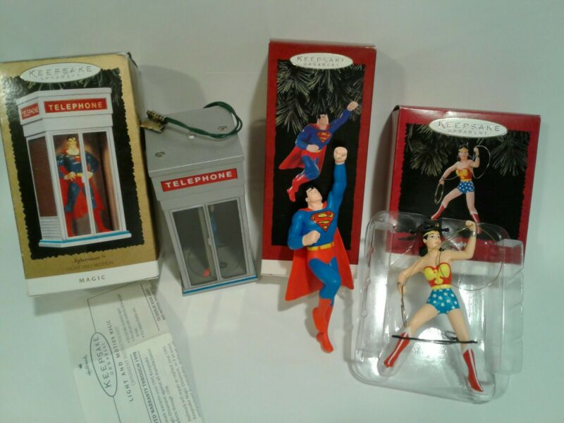 Hallmark Keepsake Ornaments Superman & Wonder Woman LOT OF 3 UNTESTED