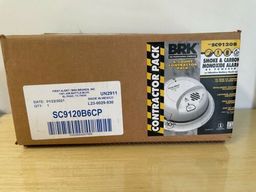 BRK AC-Powered 6-Pack Contractor Smoke & Carbon Monoxide Alarms SC9120B - New!!!