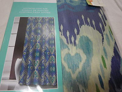Traditions by Waverly Shower Curtain ENLIGHTENED ~ Navy Teal Aqua Green NIP ()