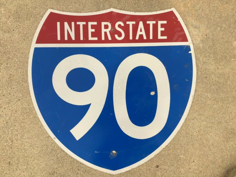 AUTHENTIC - INTERSTATE - 90 - RETIRED - HIGHWAY SIGN - REFLECTIVE