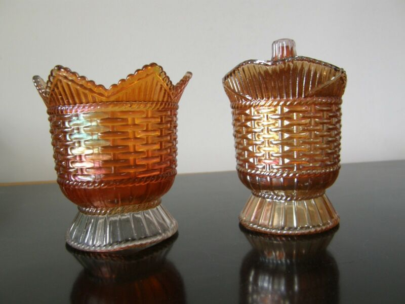 Westmoreland Basketweave & Cable Marigold Carnival Creamer w