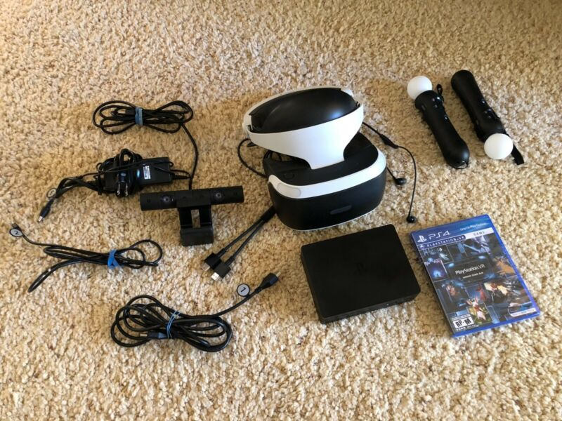 Playstation VR Bundle, Two Controllers, with Still Sealed PS VR Game Collection