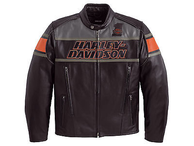 Harley Davidson Men's Rumble Colorblocked B&S Black Leather Jacket XL 98056-13VM