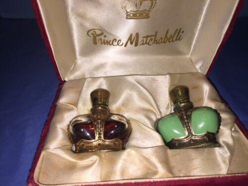 VINTAGE PRINCE MATCHABELLI CROWN  PERFUME MINI GOLD  SET  W/VELVET CASE