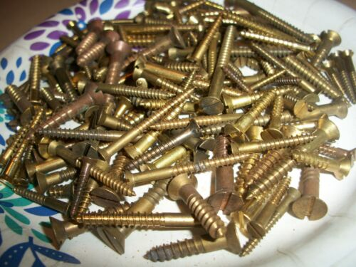 "145 -VINTAGE SOLID BRASS WOOD SCREWS WITH THE FLAT REG. SLOT HEAD, 1/2""- 2""  #11"