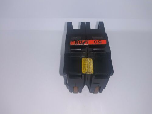 FPE Federal Pacific NA250 50 Amp 2 Pole Stab-Lok Circuit Breaker Red Handle Flaw