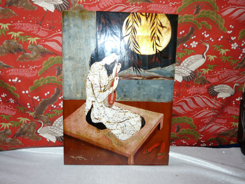BEAUTIFUL Laquer and Mother of Pearl Lovely Lady Painting Vintage