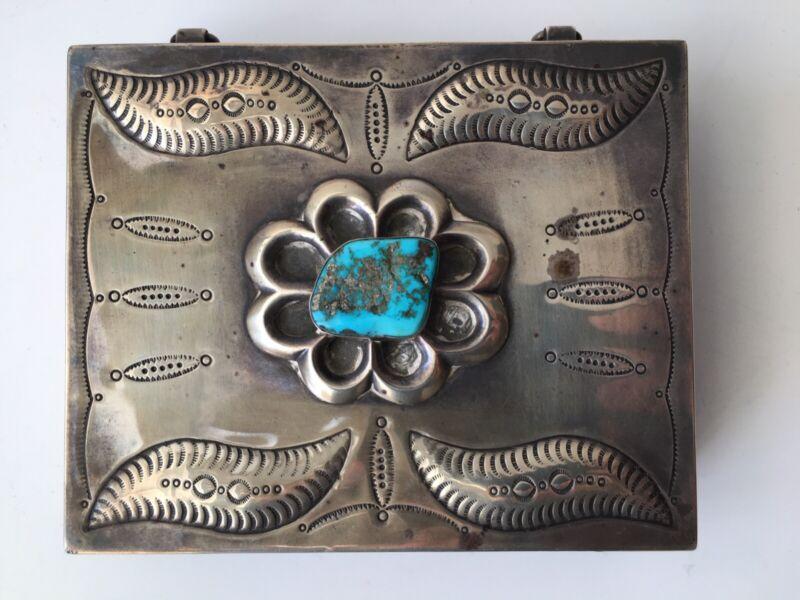 Navajo Native American Large Sterling Silver Turquoise Desk Trinket Box 258 Gr.