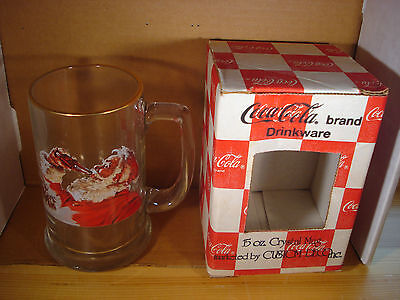 (Coca-Cola Mug Santa Claus 15 OZ. Crystal Mug Vintage Drinkware In Original Box)