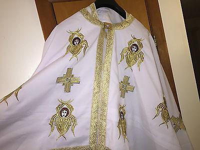 White  Greek Style Vestment Gold Embroidery Cherubim