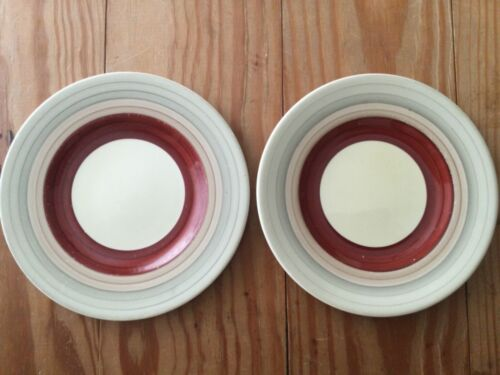 "LOT of 2: SUSIE COOPER Wedding Rings Tan & Maroon 6.75"" Dia Side PLATE ENGLAND"