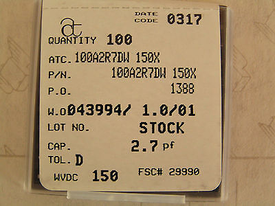 100 Pack Ametican Technical 100a2r7dw 150x Electronic Component 2.7 Pf New