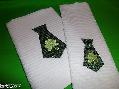 St Patricks Day Tie EMBROIDERED Towel and cloth matching set