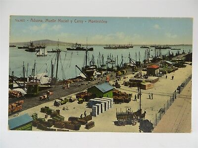 Vintage Early 1900's Postcard - Ships at Cargo Dock, Montevideo, Uraguay