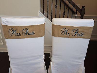 Wedding Reception Chair Sash Band for Chair Decor - Set of Two
