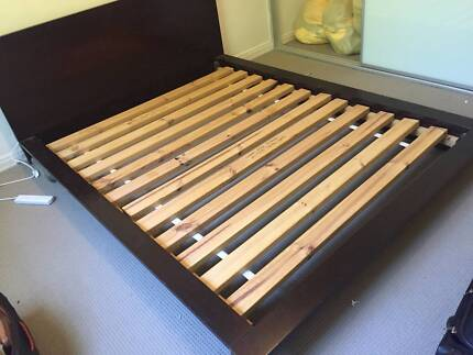FREE - Dark brown timber queen sized bed frame