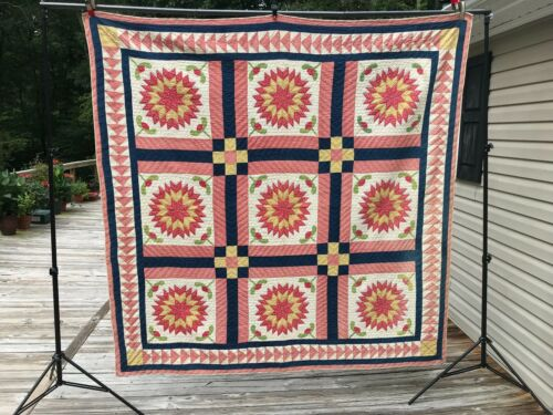 Antique Applique Patchwork Quilt Red Green White and Blue Stars Flying Geese