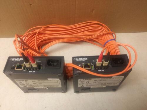 Black Box LMC7006A 10/100 transceiver media converter (2) & fiber optic cable