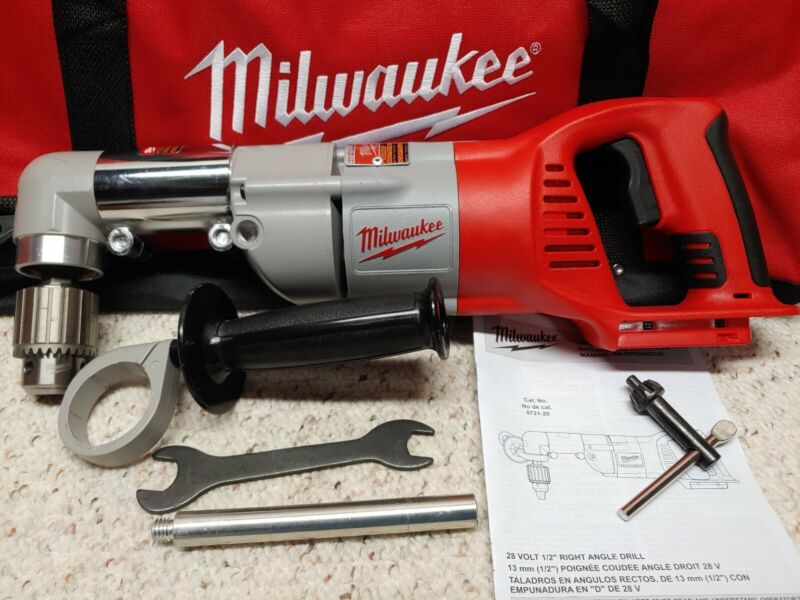 """Milwaukee•0721-20•M28 28V Lith-Ion•1/2"""" Right Angle Drill/Driver•Tool Only•Used!"""